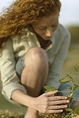 Young woman examining sapling sprouting from tree stump
