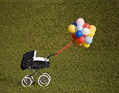 Balloons and baby buggy