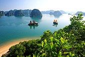Vietnam, Côte, Baie d'Ha-Long - Junk ships in front of Dao Ti Top Island in Ha Long Bay, North Vietnam, Quang Ninh