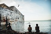 Children Jumping Into Ocean; Salvador, Bahia, Brazil