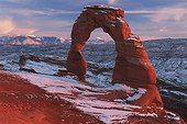 Delicate Arch At Sunset In Winter In Arches National Park; Utah, Usa