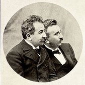 Auguste [1862 - 1954] [left] And Louis Lumiere [1864 - 1948] French Film Pioneer Brothers