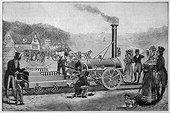 George Stephenson's locomotive, the Rocket, which won a prize given by the Liverpool and Manchester Railway Company. (1829)