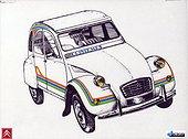 Image Exclusive * Dessin d'une Citroën 2CV 'Printemps'.