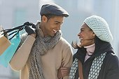 Couple shopping in winter