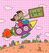 Boy holding a blackboard sitting with a girl on a rocket