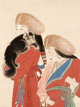 Roger-Viollet | 6195 | Zhang Daqian.  Tibétaines aux dogues  (détail visage). Encre et couleurs sur papier, 1944. Paris, musée Cernuschi. | © Musée Cernuschi / Roger-Viollet