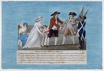 Roger-Viollet | 31588 | Jean-Baptiste Lesueur (1749-1826).The arrest of the King Louis XVI of France, June 1791. Gouache on a cardboard. Paris, musée Carnavalet. | © Musée Carnavalet / Roger-Viollet