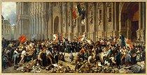 Roger-Viollet | 57327 | Lamartine repoussant le drapeau rouge devant l'Hôtel de Ville, le 25 février 1848 | © Petit Palais / Roger-Viollet