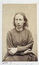Roger-Viollet | 72832 | Visiting card of Louise Michel (1830-1905), French revolutionary. Plate 117 from the album of the French Commune, 1871. Paris, musée Carnavalet. | © Musée Carnavalet / Roger-Viollet