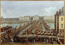 Roger-Viollet | 79448 | Jacques Bertaux (circa 1745-1818). The imperial procession on its way to Notre-Dame de Paris Cathedral for the coronation ceremony, on December 2, 1804. The procession crossing the Pont-Neuf. Oil on canvas. Paris, musée Carnavalet. | © Musée Carnavalet / Roger-Viollet