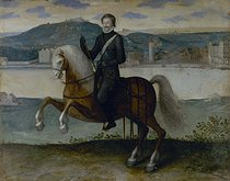 Roger-Viollet | 96060 | Anonymous. The King Henry IV of France (1553-1610), on horseback in front of Paris. Paris, musée Carnavalet. | © Musée Carnavalet / Roger-Viollet
