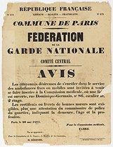 Roger-Viollet | 138604 | Imprimerie Nationale.  REPUBLIQUE FRANCAISE, N° 372, LIBERTE - EGALITE - FRATERNITE, N° 372, COMMUNE DE PARIS, FEDERATION DE LA GARDE NATIONALE, COMITE GENERAL, AVIS . Typographie. en1871-1871. Paris, musée Carnavalet. | © Musée Carnavalet / Roger-Viollet