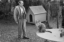 Roger-Viollet | 162140 | Louis-Ferdinand Céline (1894-1961), French writer, at his place. Meudon (France), 1955. | © Bernard Lipnitzki / Roger-Viollet
