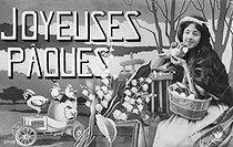 Roger-Viollet | 166338 |  Joyeuses Pâques  ( Happy Easter ). Postcard, about 1910. | © Roger-Viollet / Roger-Viollet