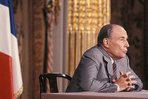 Roger-Viollet | 179271 | François Mitterrand (1916-1996), President of the French Republic, during a press conference at the Elysee Palace. Paris, on May 18, 1989. | © Jean-Pierre Couderc / Roger-Viollet