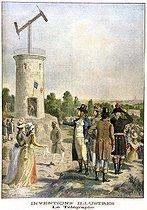 Roger-Viollet | 182789 | Expérience du télégraphe de Chappe dans le parc de Saint-Fargeau à Ménilmontant, juillet 1793.  Le Petit Journal , décembre 1901. | © Roger-Viollet / Roger-Viollet