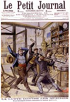 Roger-Viollet | 201690 | The two sons of a restaurateur struggling against Apaches.  Le Petit Journal , october 1905. | © Roger-Viollet / Roger-Viollet