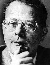 Roger-Viollet | 205136 | André Miquel (born in 1929), French historian, specialist in Arabic language and literature. Paris, February 1988. | © Bruno de Monès / Roger-Viollet