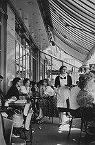 Roger-Viollet | 207627 | Terrace of the  Capoulade  café in the rue Soufflot. Paris (Vth arrondissement), Latin Quarter, 1958. Photograph by Janine Niepce (1921-2007). | © Janine Niepce / Roger-Viollet