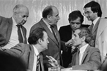 Roger-Viollet   235772   Rally of the Socialist Party. From left to right : Claude Estier, André Labarrère, François Mitterrand, Paul Quilès and Jacques Attali. Alfortville (France), January 1980.   © Jacques Cuinières / Roger-Viollet