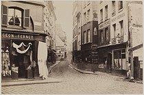 Roger-Viollet | 238226 | Rue Mouffetard, view from the rue de Lourcine. Paris (Vth arrondissement), 1867. Photograph by Charles Marville (1813-1879). Bibliothèque historique de la Ville de Paris. | © Charles Marville / BHVP / Roger-Viollet