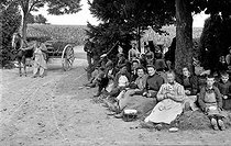Roger-Viollet | 241643 | Grape harvests in Champagne. The grape-pickers' meal, around 1910. | © Neurdein / Roger-Viollet