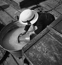 Roger-Viollet | 243981 | Boat life. Child playing on a barge. Conflans-Saint-Honorine (France), March 1938. | © Pierre Jahan / Roger-Viollet