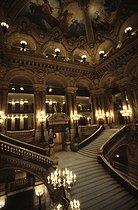 Roger-Viollet | 263564 | Main staircase of the Opéra Garnier. Paris, 1983. | © Jean-Pierre Couderc / Roger-Viollet
