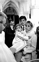 Roger-Viollet | 272888 | Christening of Anthony Delon, Alain Delon and Nathalie's son, on May 1st, 1966. Photograph by Georges Kelaïditès (1932-2015). | © Georges Kelaïditès / Roger-Viollet