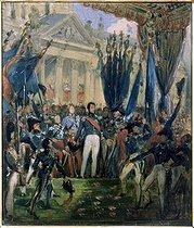 Roger-Viollet | 275088 | Joseph-Désiré Court (1797-1865).  Louis-Philippe Ier, roi des Français, distribuant les drapeaux à la Garde Nationale, le 29 août 1830 . Rouen, Musée des Beaux-Arts. | © Roger-Viollet / Roger-Viollet