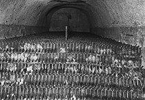 Roger-Viollet | 285205 | Vault with 140000 bottles of Champagne wine preserved on points. | © Jacques Boyer / Roger-Viollet