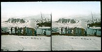 Roger-Viollet | 291753 | Andree expedition to the North Pole. Spitzbergen, landing of the balloon's nacelle. 1897. | © Léon & Lévy / Roger-Viollet