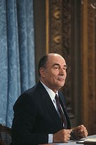 Roger-Viollet | 307792 | François Mitterrand (1916-1996), President of the French Republic, during a press conference at the Elysee Palace. Paris, 1981. | © Jean-Pierre Couderc / Roger-Viollet