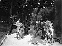 Roger-Viollet | 353487 | Children playing marbles in a park. Paris, circa 1930-1935. | © Albert Harlingue / Roger-Viollet