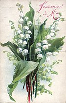 Roger-Viollet | 359244 | Lily of the valley. May memories. Postcard for May Day. | © Roger-Viollet / Roger-Viollet