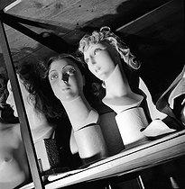 Roger-Viollet | 363719 | Heads of display mannequins in the storeroom of the Galeries Lafayette department store. Paris (IXth arrondissement), 1948. | © Pierre Jahan / Roger-Viollet