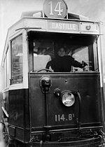 Roger-Viollet | 366338 | Paris - Woman driving a streetcar | © Maurice-Louis Branger / Roger-Viollet