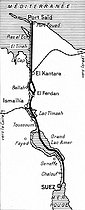 Roger-Viollet | 373572 | Map of the Suez Canal (Egypt). | © Roger-Viollet / Roger-Viollet