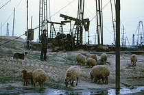 Roger-Viollet | 411983 | Oil wells, which are still working, in Baku (Azerbaijan-Russia). Some of them have been built over a century ago, 1997. | © Jean-Paul Guilloteau / Roger-Viollet