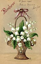 Roger-Viollet | 420879 | Basket of lily of the valley. Lucky charm postcard, about 1900. | © Roger-Viollet / Roger-Viollet