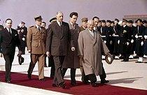 Roger-Viollet | 442707 | General Charles de Gaulle and Nikita Khrushchev. On the left, Michel Debré. Orly (Val-de-Marne), March 1960. | © Roger-Viollet / Roger-Viollet