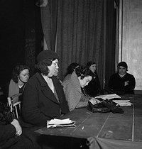 Roger-Viollet | 442961 | French Communist party. Rally of women organized by Maria Rabaté (1900-1985), French politician. Paris, 1936. Photograph by Marcel Cerf (1911-2010). Bibliothèque historique de la Ville de Paris. | © Marcel Cerf / BHVP / Roger-Viollet
