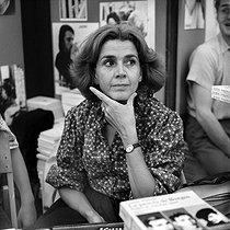 Roger-Viollet | 444834 | Gisèle Halimi (1927-2020), Tunisian-born French lawyer, feminist activist and politician, attending the  Fête de l'Humanité , annual festival organized by the French communist newspaper  L'Humanité . La Courneuve (France), September 1978. | © Roger-Viollet / Roger-Viollet