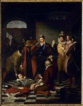 Roger-Viollet | 458151 | Charles Durupt (1804-1838).  Henri III (1551-1589), roi de France, poussant du pied le cadavre du duc de Guise (1549-1588), en 1588 . Blois museum. | © Roger-Viollet / Roger-Viollet