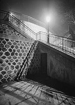 Roger-Viollet | 472393 | Montmartre. Stairs, rue de la Bonne, at night. Paris (XVIIIth arrondissement), 1948. Photograph by René Giton (known as René-Jacques, 1908-2003). Bibliothèque historique de la Ville de Paris. | © René-Jacques / BHVP / Roger-Viollet