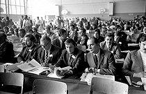 Roger-Viollet | 473616 | Socialist rally. François Mitterrand (1916-1996), French politician. Next to him : Jean Auroux (born in 1942). Epinay-sur-Seine (France), on June 11, 1971. | © Roger-Viollet / Roger-Viollet