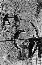 Roger-Viollet | 479006 | Solar furnace. Mont-Louis (France), 1958. Photograph by Jean Marquis (1926-2019). | © Jean Marquis / Roger-Viollet