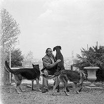 Roger-Viollet | 498917 | French writer Louis-Ferdinand Céline (1894-1961) with his dogs. Meudon (France) around 1955. | © Bernard Lipnitzki / Roger-Viollet