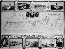 Roger-Viollet | 501348 | Plan of Suez canal (Egypt), inaugurated in 1869. | © Albert Harlingue / Roger-Viollet